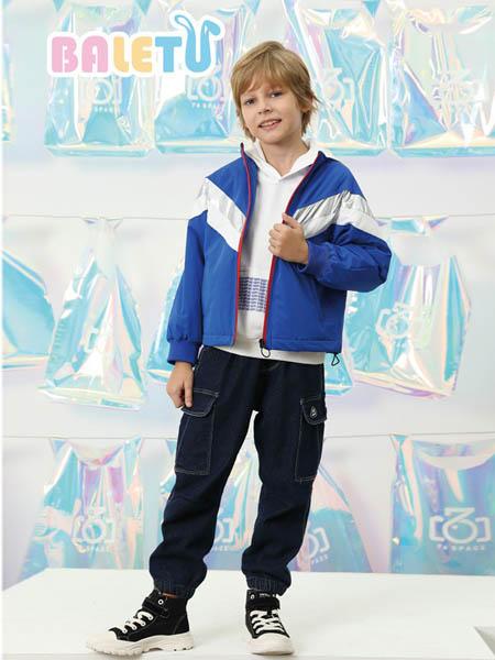 芭乐兔童装品牌2020秋冬蓝色条纹外套