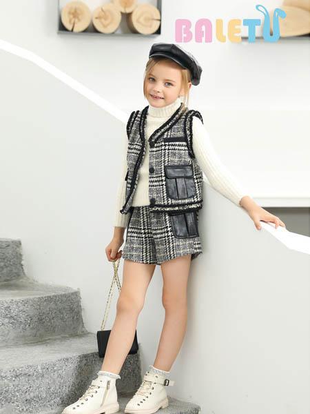 芭乐兔童装品牌2020秋冬格子马甲