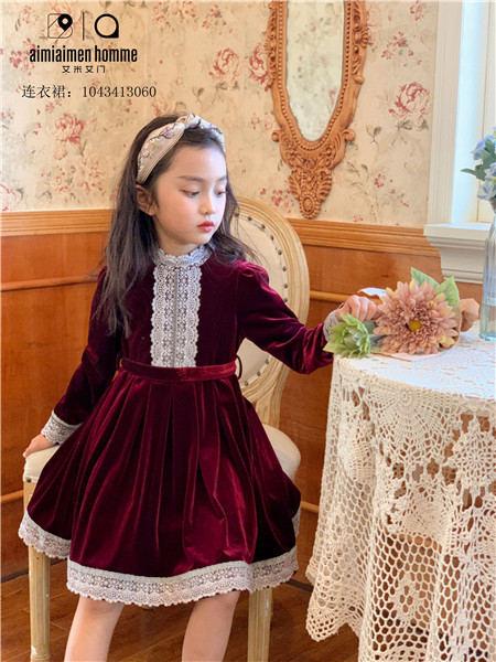 艾米艾门童装品牌2020秋冬红色休闲长袖连衣裙