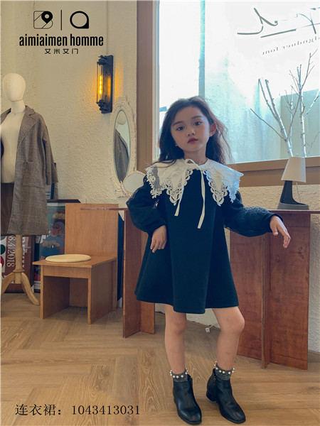 艾米艾门童装品牌2020秋冬公主深色毛呢连衣裙