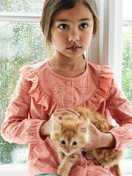 vertbaudet童装品牌2020秋冬花边粉色长袖上衣