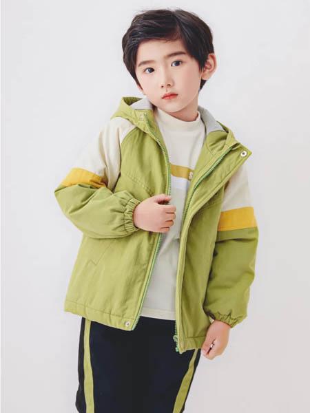 森虎儿童装品牌2020秋冬绿色连帽运动休闲外套