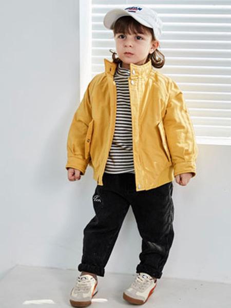 幼米童装品牌2020秋冬女童黄色潮流立领夹克