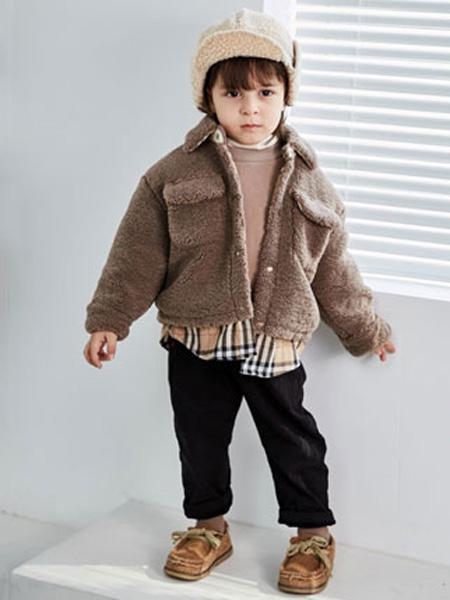 幼米童装品牌2020秋冬女童咖啡色羊绒外套