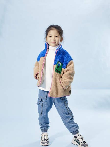 宝贝传奇童装品牌2020冬季女童羊绒撞色外套