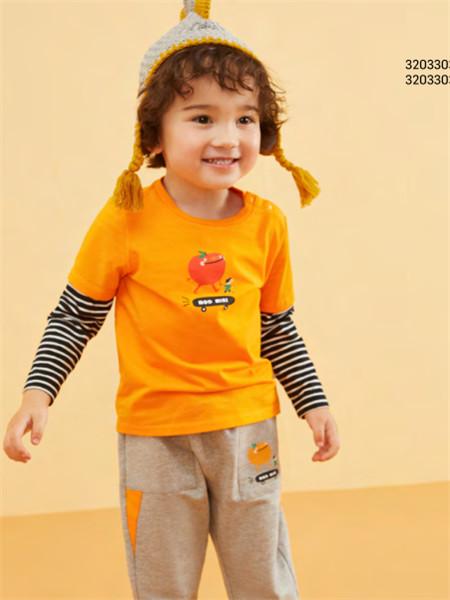 MQD童装品牌2020秋冬时尚黄色圆领假两件