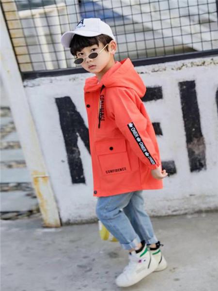 优卡蓝猫童装品牌2020秋冬橘色带帽字母外套