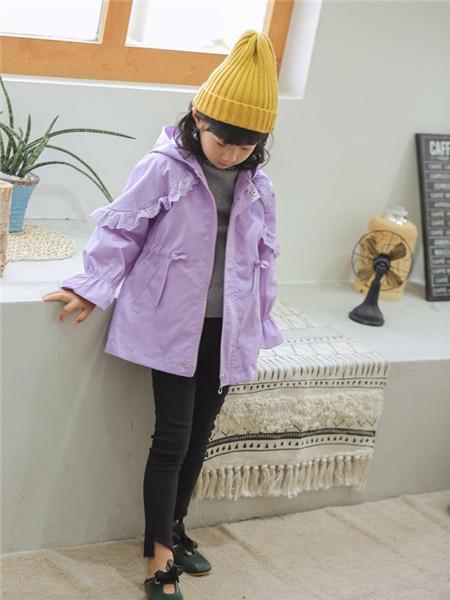 优卡蓝猫童装品牌2020秋冬复古紫色薄外套