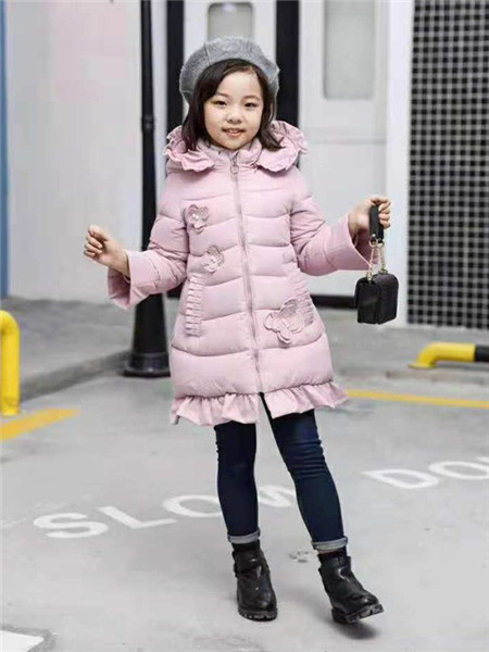 优卡蓝猫童装品牌2020秋冬粉色长袖羽绒服