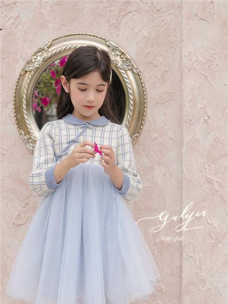 古力家童装童装品牌2020秋冬格子蓝色长袖连衣裙