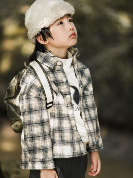 吾名堂童装品牌2020冬季复古灰色格子外套
