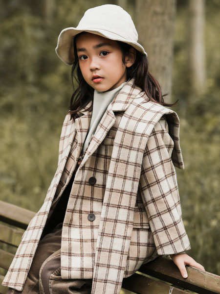 吾名堂童装品牌2020冬季时尚格子外套