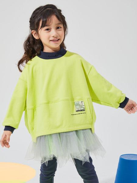 NNE&KIKI童装品牌2020秋冬圆领青色上衣