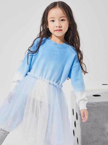 NNE&KIKI童装品牌2020秋冬蓝色针织长袖上衣