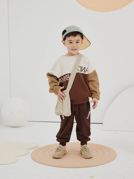 NNE&KIKI童装品牌2020秋冬拼接圆领毛呢上衣