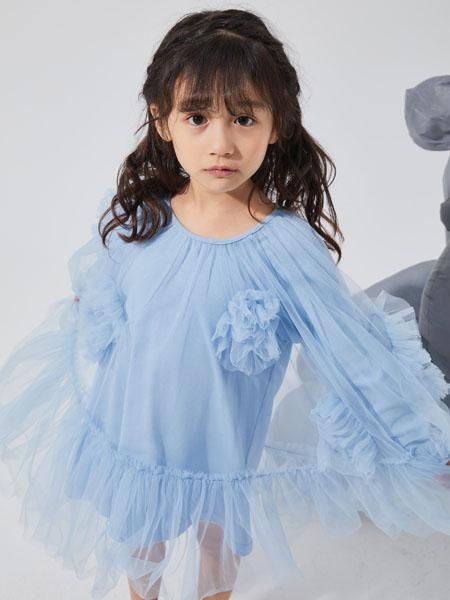 NNE&KIKI童装品牌2020秋冬时尚蓝色薄纱连衣裙