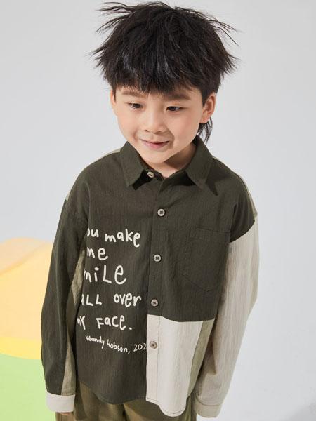 NNE&KIKI童装品牌2020秋冬立领深绿色字母上衣