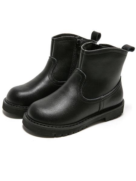 森林大王童鞋品牌2020秋冬高帮纯黑女童鞋