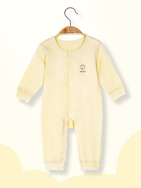 彩婴坊宝贝童装品牌2020秋冬毛呢黄色连体衣