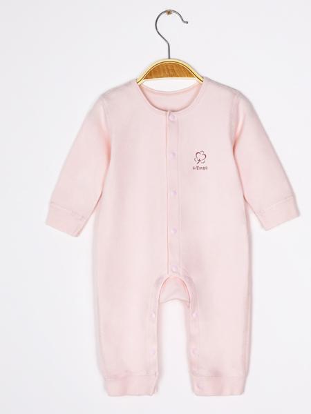 彩婴坊宝贝童装品牌2020秋冬时尚粉色爬爬衣
