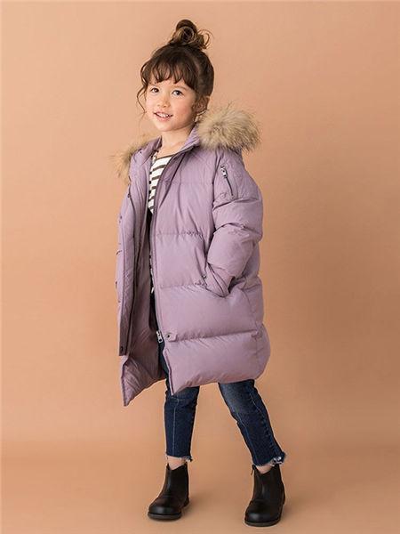 品萌儿童童装品牌2020秋冬紫色加绒羽绒服