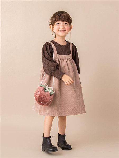 品萌儿童童装品牌2020秋冬吊带粉色连衣裙