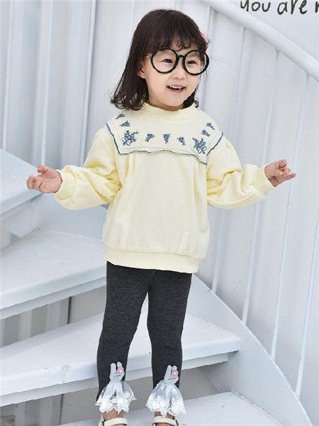 童年领域童装品牌2020秋冬黄色潮流针织衫