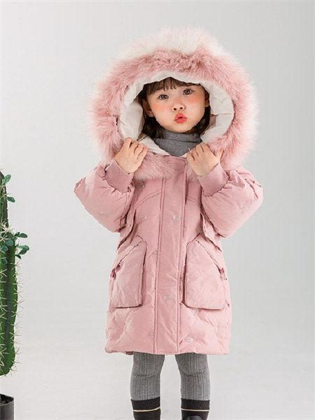 童年领域童装品牌2020秋冬粉色带帽保暖羽绒服