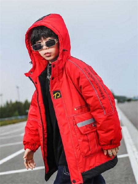 童年领域童装品牌2020秋冬红色带帽羽绒服
