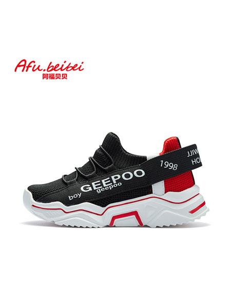 阿福贝贝童鞋品牌2020秋冬字母黑色运动鞋