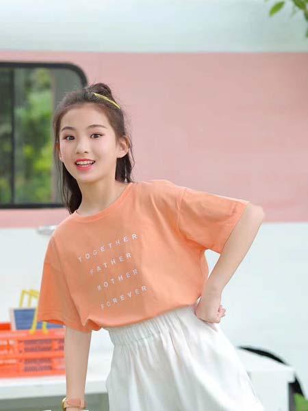 咔士尼童装品牌2021春夏橘色学院风T恤