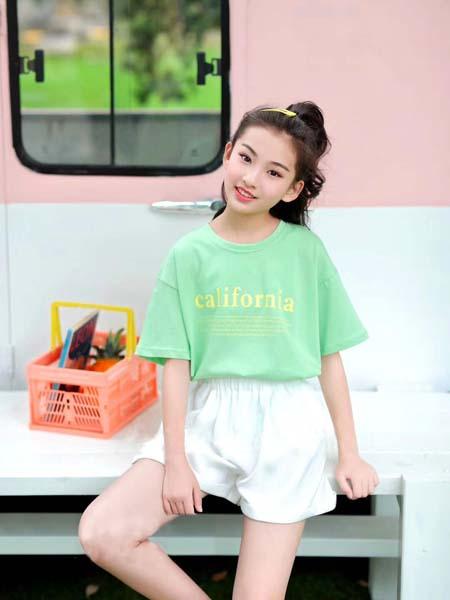咔士尼童装品牌2021春夏薄荷绿小清新T恤