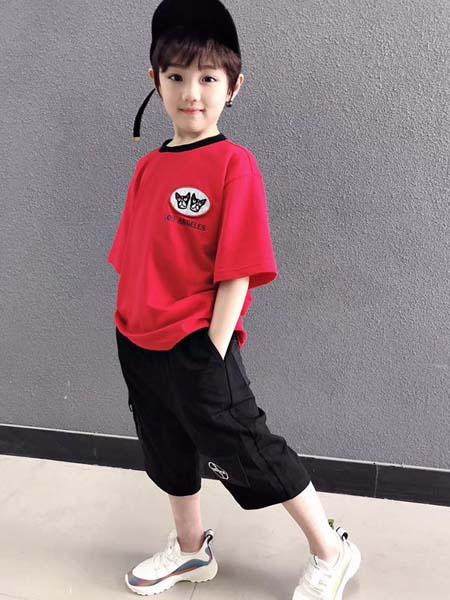 咔士尼童装品牌2021春夏红色运动风圆领T恤