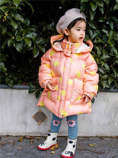 野柿童装品牌2020冬季粉色名媛风高领羽绒服外套