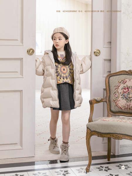 德蒙斯特童�b品牌2021秋冬白色�n版��s中�L羽�q服外套