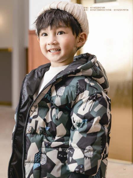 德蒙斯特童�b品牌2021秋冬深色迷彩保暖外套