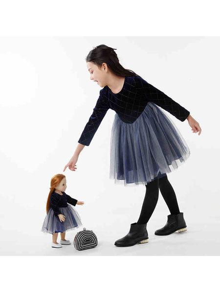 粒子童装品牌2021秋冬格纹蕾丝拼接网纱裙