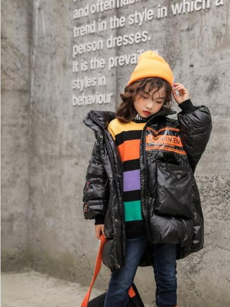 艾米艾门童装品牌2020冬季黑色亮面潮童羽绒服