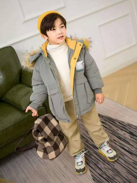 美的宝宝童装品牌2020冬季撞色连帽毛领羽绒服