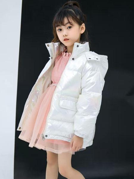 美的宝宝童装品牌2020冬季白色简约亮面羽绒服