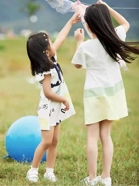 贝思购童装品牌2021春夏荷叶边特色印花短袖连衣裙