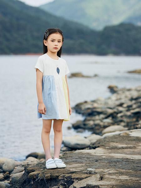 贝思购童装品牌2021春夏流行时尚撞色渐变连衣裙