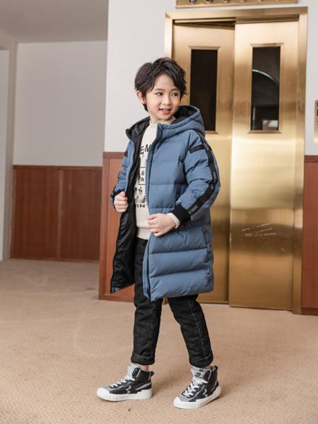 卡儿菲特童装品牌2020冬季灰蓝色极简风贴带羽绒服