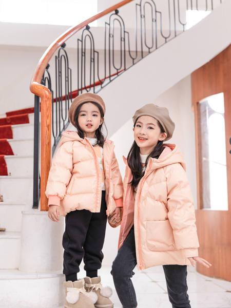 卡儿菲特童装品牌2020冬季粉色甜美名媛风羽绒服
