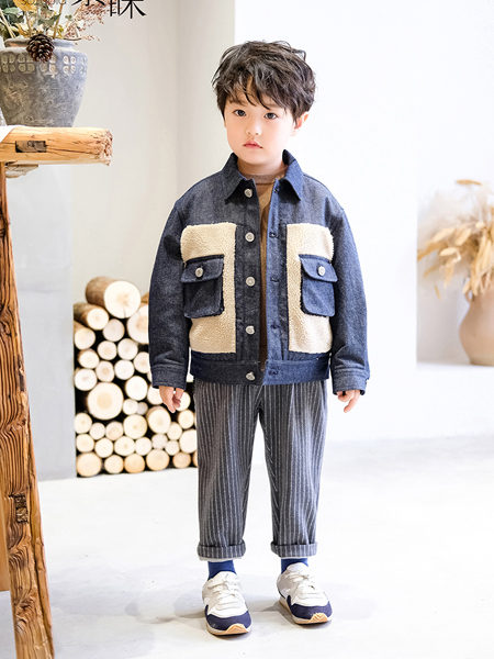 素睐童装品牌2020冬季牛仔毛绒拼接时尚外套