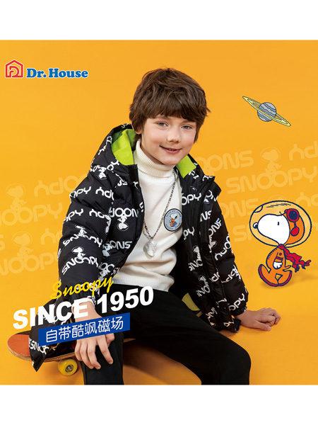 博仕屋DR.HOUSE国际童品集成店童装品牌史努比2020冬季黑色流行字母印花中长款羽绒服