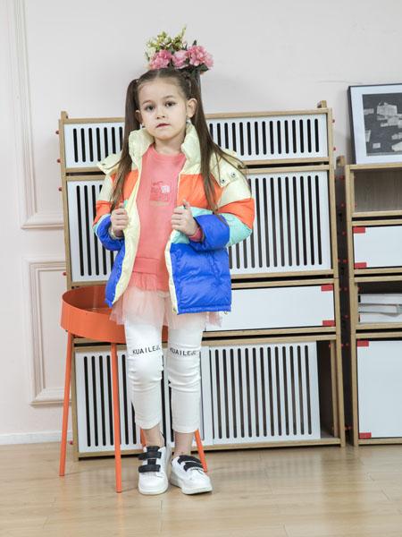 快乐精灵童装品牌2020冬季高领短款保暖羽绒夹克