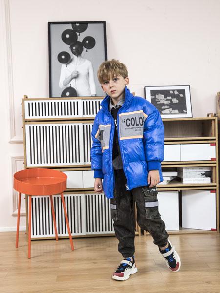 快乐精灵童装品牌2020冬季蓝色流行印花羽绒夹克