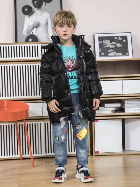 快乐精灵童装品牌2020冬季黑色欧美极简风中长款羽绒服