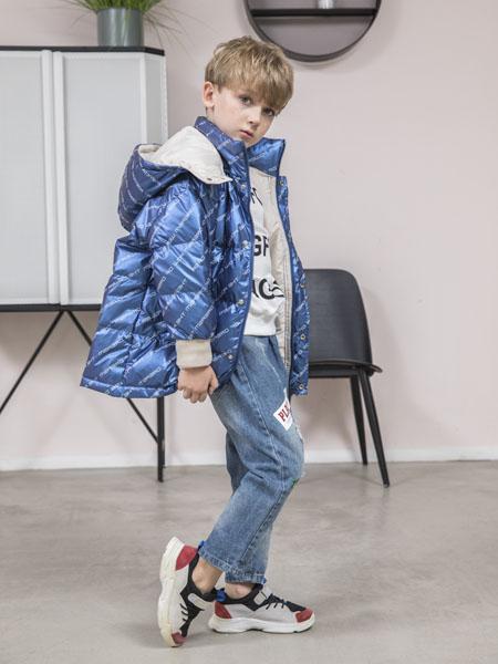 快乐精灵童装品牌2020冬季蓝色极光色连帽羽绒服